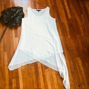 Saks Fifth Avenue White Asymmetrical Sleepless Top
